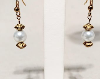 Gold and Pearl Hanging Earrings