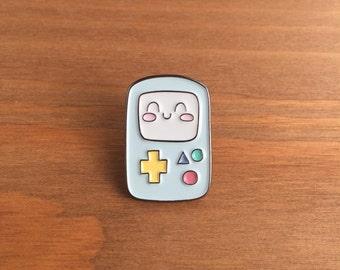 "Enamel Pin, BMO the Robot,  1"" inch, Lapel Pin, Kawaii, Adventure Time, Tokidoki, Ghibli"