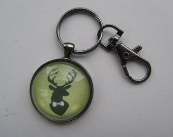Green Deer Head Key Chain, Deer Key Fob, Deer Key Chain, Hunting Lover Gift, Up North Woods Key Chain