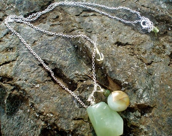 Necklace-Natural Earth Necklace in jasper,jade, quartz and sterling silver