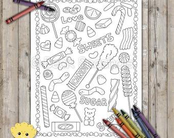 Kawaii Sweets Printable Coloring Page