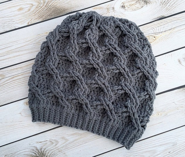 Crochet Pattern for Chain Link Slouch Hat 5 sizes baby to