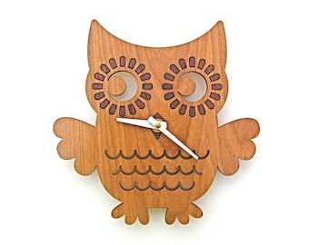 Wood Owl Wall Clock: Woodland Forest Animal Nature Nursery Wooden Owl Decor for Baby, Boy, Girl, Kids, Children