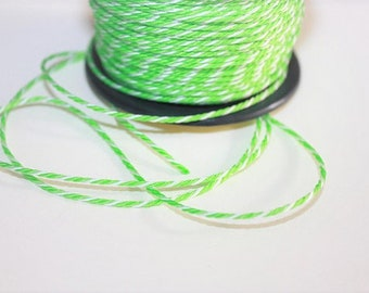 1.5 mm TWISTED GREEN and WHITE mix Cord = 1 Spool= 55 Yards= 50 Meters of Elegant Polypropylene Rope for Macrame Sewing Crocheting Knitting