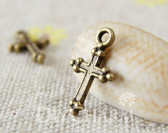 Antique Bronze Cross Charms 11x7mm - 100Pcs - DC23302