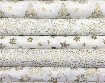 FESTIVE METALLIC Collection in White and Gold ~ Christmas Fabric