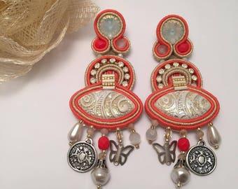"Soutache earrings ""Sun & Sand"""