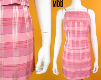 Cute & Sassy Vintage 90s Pink Plaid Top and Mini Skirt Set by Byer Too