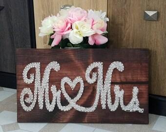 Mr Mrs string art sign - Mr & Mrs - love heart- custom made - hand made - wall art hanging - decoration