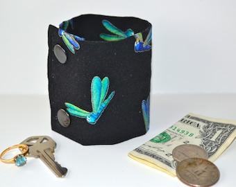 "Money Wrist  Cuff wallet - ""Secret Stash""- Dragonflies- -stash your cash, coins, jewels, health info, in a hidden secret inside zipper--"