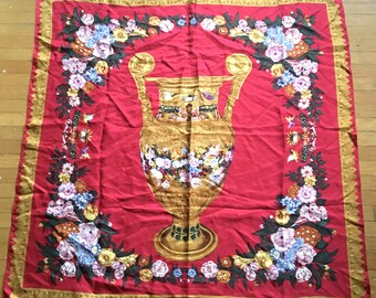 Lovely SILK vintage scarf from the ART Institute of Chicago of a Grecian Urn - made in Korea