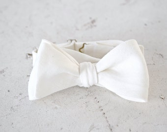 White Linen Self Tie Bow Tie