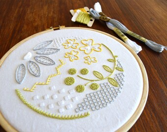 Mock Whitework hand embroidery pattern, modern embroidery, embroidery patterns, embroidery PDF, PDF pattern
