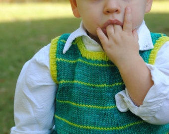 make your own Treasure Vest (DIGITAL KNITTING PATTERN) Ages 2-12, includes pouch pocket