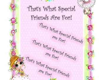 My-Besties Clear Rubber Stamp Big Eye Besties Big Head Dolls That's What Friends Are For Sentiment Stamp By Sherri Baldy