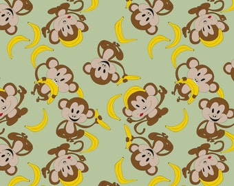 ProCool® Athletic Interlock Print - Monkeying Around Celery (sold by the yard)