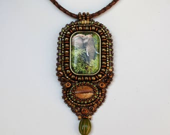 Elephant Pendant Necklace. Bead embroidered African elephant.