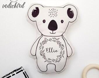 Personalised Koala Plush Rattle or Pillow, baby rattle, plush toy, bear pillow, rustic wreath, keepsake, baby shower gift.