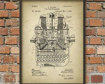 Typewriter Patent Print - Vintage Mechanical Typewriter - Secretary - Typist - Office Decor - Typewriting Wall Art Poster