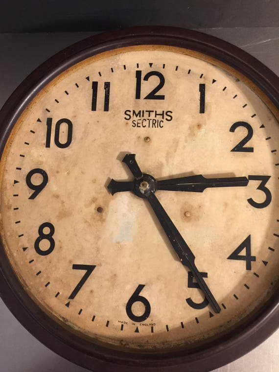 Vintage Smiths Sectric Bakelite Wall Clock Industrial Style