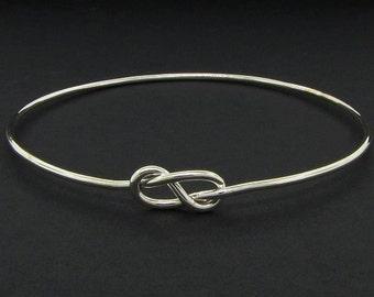 Sterling Silver Bangle Infinity Bracelet - Solid Silver Bangle Knot Bracelet - Mothers Day Gift Bracelet Femme