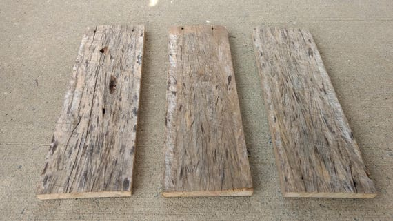 Set Of 3 Reclaimed Barn Wood Planks Blank Signs Shelves Weathered Aged Rustic Tobacco From