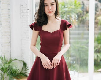 Olivia - Prom Dress Burgundy Dark Red Dress Formal Dress Cocktail Dress Bridal Wedding Party Dress Sundress Summer Dress Swing Dance Dress