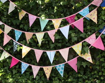 Custom Fabric Flag Bunting. Bridal Shower, Wedding Decoration in Your Chosen Colors.  40 Foot Banner.