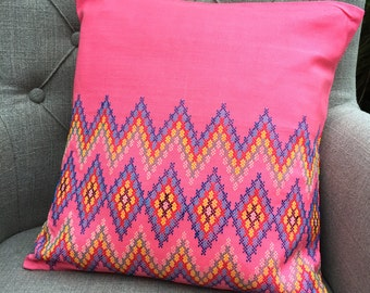 Coral Pink Cushion, Salmon Pink Pillow with blue embroidery