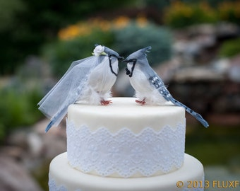 Blue Jay Wedding Cake Topper: Bride & Groom Love Bird Cake Topper