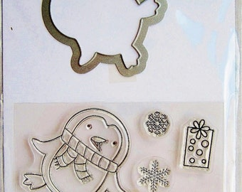 Penguins Christmas Warm Wishes Clear Stamp and Coordinating Die Set by Hampton Art Stamps SC0714 NEW!