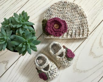 Rustic Baby/Toddler Girls Winter Beanie with Flower and Button/ Matching Mary Jane Slippers
