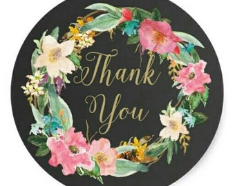 Thank You Stickers - Vintage style, floral wreath - Favours, envelope seals, cardmaking, giftwrapping
