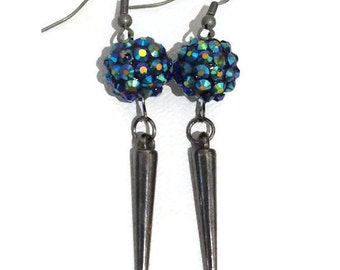 Gunmetal spike earrings with blue shamballa beads goth vampire
