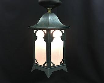0583 Hexagonal Antique 1920's Lantern Style Hall Porch Pendant Light Fixture Rewired Restored