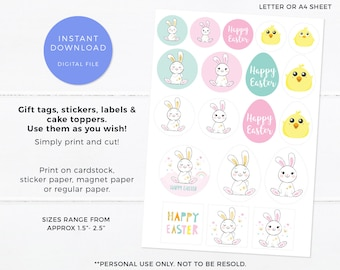 Cute bunny Easter labels PRINTABLE Easter gift tags, DIY easter tags, Easter stickers, Baby Chicken Happy Easter bunny card DIY easter decor