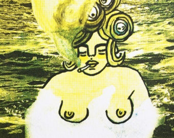 Enjoying my Time in yellows // screenprint / limited edition art print