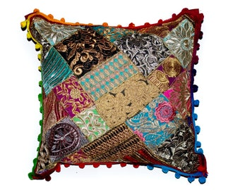 "Indian Patchwork Cushion Cover Handmade Pom Pom Hand sewed 16"" square"
