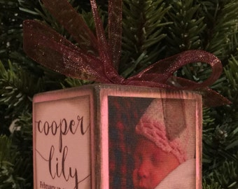 Personalized Baby Girl's First Christmas Block Ornament - Pink with Brown Distressed Edges