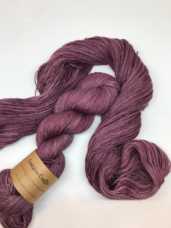 Grape - 100g 60/20/20 Superwash Merino / Silk / Yak Sock Yarn 4 ply, fingering, hand dyed in Scotland, burgundy
