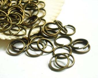 50/100 Antique Bronze Double Loop Split Jump Rings 10mm - 11-9