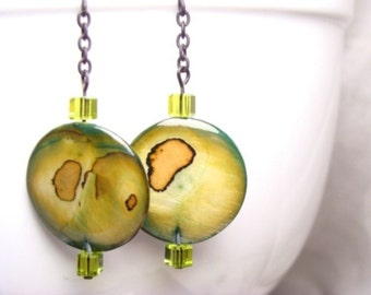 Natural Mother-of-Pearl Shell Earrings with Crystals