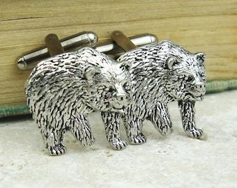 Bears Cufflinks. Antiqued Silver Pewter Cufflinks