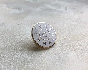Bridesmaid Enamel Pin – White and Gold