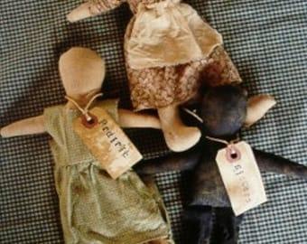 Primitive Doll Pattern Folk Art Prairie Sisters OFG Teams