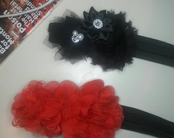 Red Flowered Lace Non-slip Headband