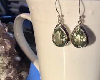 Green Amethyst Earrings, Sterling Silver, green earrings, green stone earrings, dangle green earrings, amethyst earrings, amethyst
