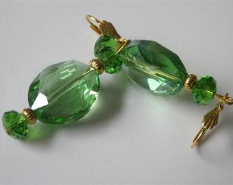 Green Glass Earrings, Crystal Earrings, Oval Dangle Earrings, Czech Glass Dangles