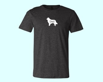 "Australian Shepherd with tail ""DAD"" Dog SHIRT"
