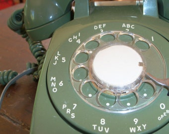 Vintage Olive Green Telephone Rotary Display Phone
